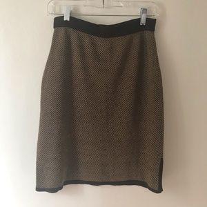 Petite Sophisticate Mini Brown Knit Skirt